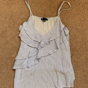 ⭐️3for15⭐️Blue and white stripe ruffle tank top
